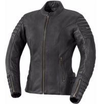 Ixs - blouson cuir moto vintage femme Lady Tracy été noir Promo 40