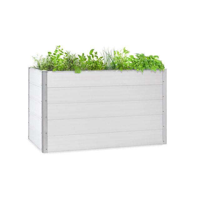 BLUMFELDT Nova Grow Potager surélevé 150 x 91 x 100 cm - WPC résistant aux UV et au gel - Montage simple - Design bois blanc