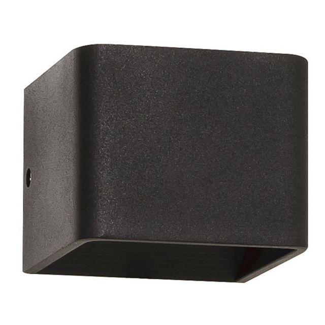 Homemania Lampe Murale Square Applique - Rectangulaire - Noir en Métal, 10 x 8 x 10 cm, 1 x Led, 3W, 310LM, 4000K Lumière Blanc Na