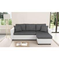Usinestreet - Canapé d'Angle Réversible et Convertible avec Coffre Gris / Blanc Maria