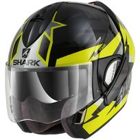 Shark - casque intégral modulable en jet Evoline 3 Strelka Kya moto scooter noir fluo brillant Xl