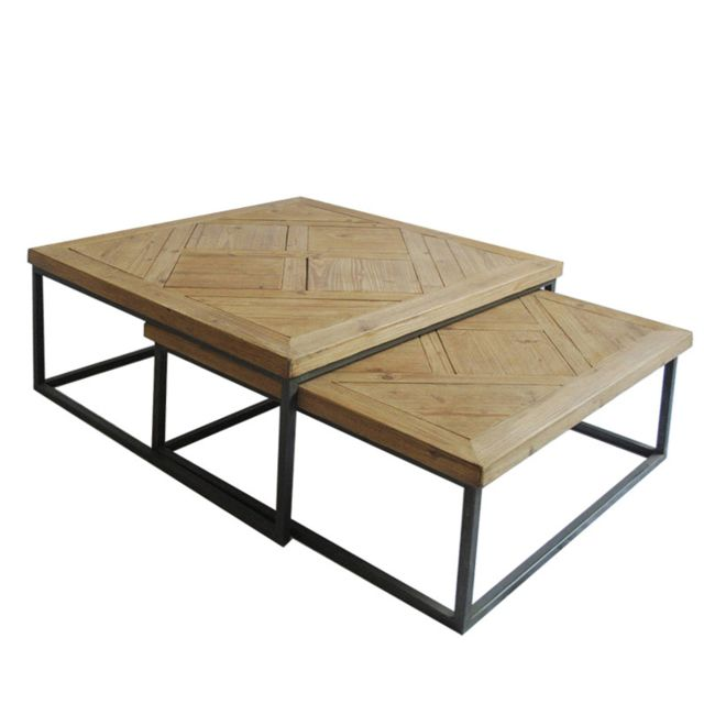 Table Basse Carree Gigogne Bois Metal Lot De 2 Luva Pas Cher