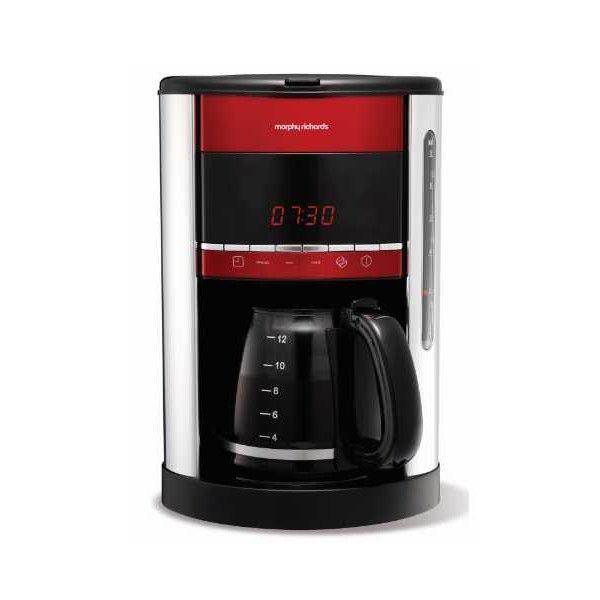 Morphy Richards - Cafetière Programmable 12 Tasses Accents Rouge Métal M162005EE