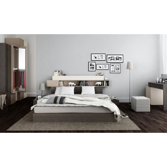vox lit avec tete de lit rangements hifi avec sommier relevable 140x200 avec 2 chevets pas. Black Bedroom Furniture Sets. Home Design Ideas