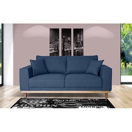 Canapé 2 places fixe pieds bois en tissu bleu nuit - Stanley