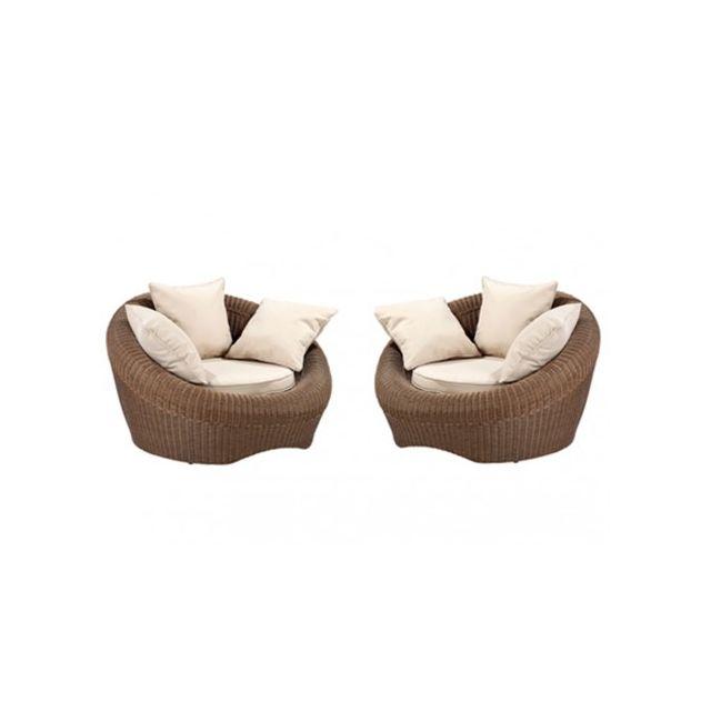 Vente-unique - Lot de 2 fauteuils de jardin Whiteheaven en résine ...