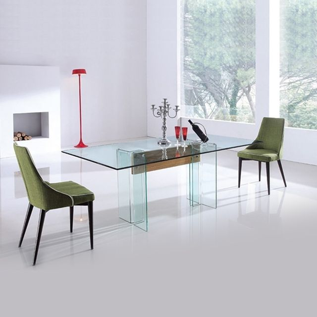 Meubler Design Table à manger en verre et bois design Glasswood