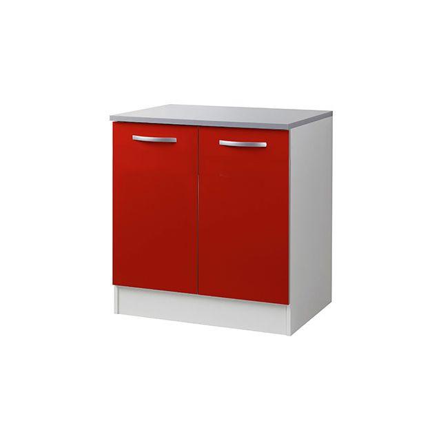 Meuble sous évier L80xH86xP60cm - rouge