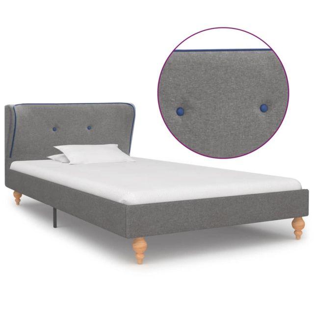 Uco Cadre de lit Gris clair Tissu 90 x 200 cm
