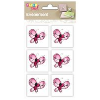 Clairefontaine - 6 embellissements adhésifs en relief 4x4cm - Papillon rose