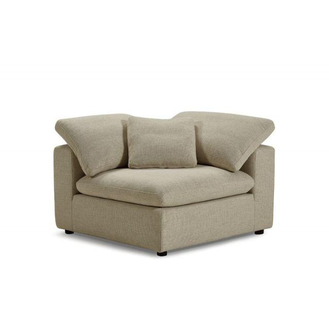 MEUBLETMOI Module Angle beige pour canapé composable plume - NUAGE