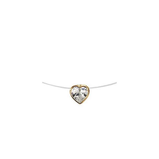 6259c5a0881e4 1001BIJOUX - Collier plaqué or fil nylon pendentif coeur pierre blanche 40cm