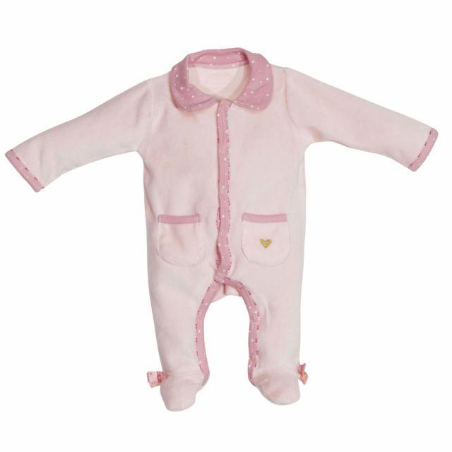 2c5a889cb2429 Sauthon - Pyjama velours rose 1 mois Mila - pas cher Achat   Vente Pyjamas