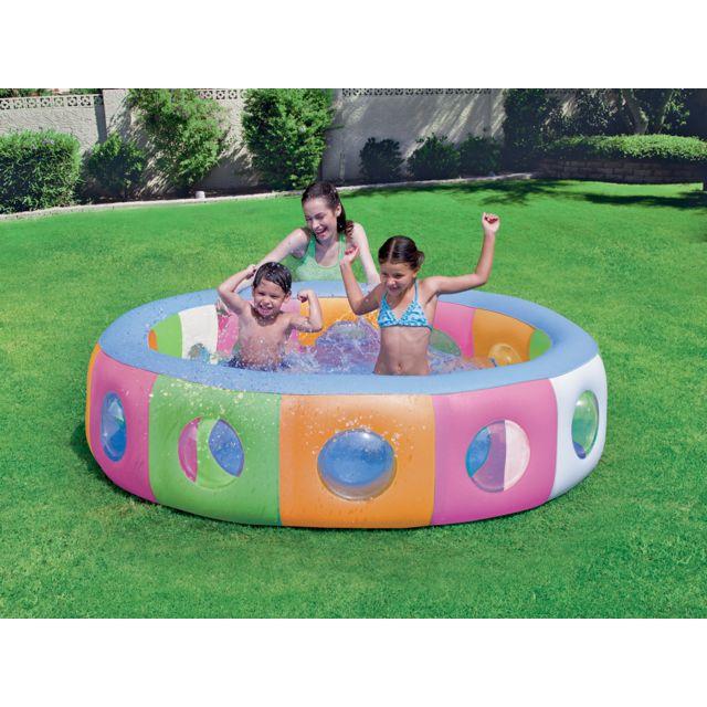 Bestway piscine gonflable multicolore avec fen tres for Piscine enfant carrefour