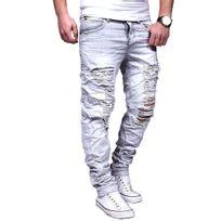 Justing - Jeans homme ajusté déchiré Jeans 7005 gris