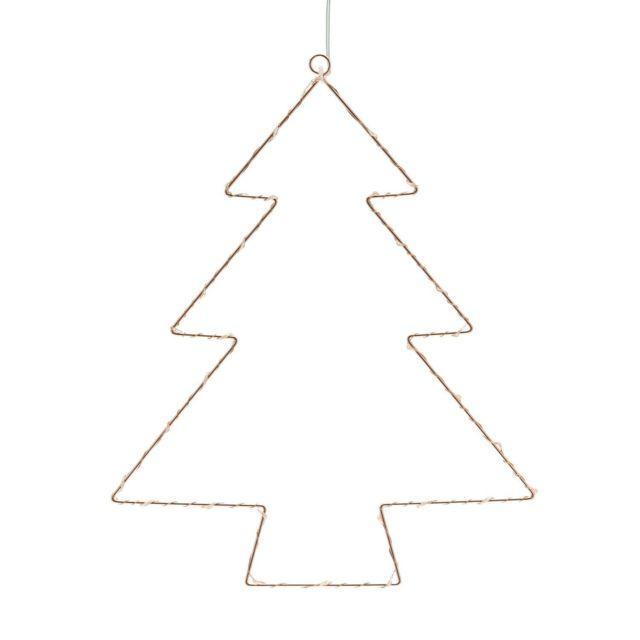 Suspension Arbre de Noël décoration-étoile en bois avec argent lamé 15 cm