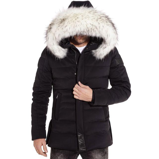 99e1ba1b0b5a BLZJEANS - Manteau parka hiver stylé à capuche fausse fourrure blanche.  Couleur   Noir