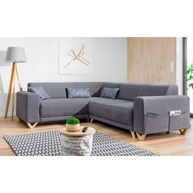 bobochic bella canap d 39 angle panoramique convertible avec coffre gauche couleur gris. Black Bedroom Furniture Sets. Home Design Ideas