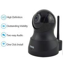 TENVIS - TH661 Caméra de surveillance HD 1280x720P H.264 IP Wifi sans fil - Détection Mouvement Alerte - Vision Nocturne - Son 2 sens - Motorisée - Appli téléphone & Guide en FRANCAIS Noir