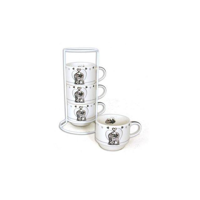 Set de 4 tasses expresso sur colonne - Chabada - 17 x 6 cm - Céramique