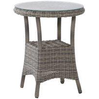 Comforium - Table de jardin ø 60 cm coloris roca + vitre incluse