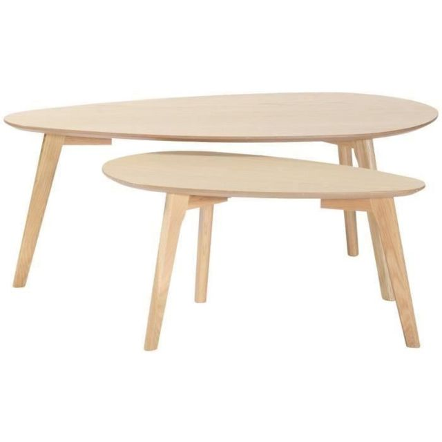Table Basse Scandinave Gigogne.Table Basse Natura Tables Gigognes Scandinave Placage Chene Vernis Naturel L 100 X L 50 Cm Et L 70 X L 35 Cm