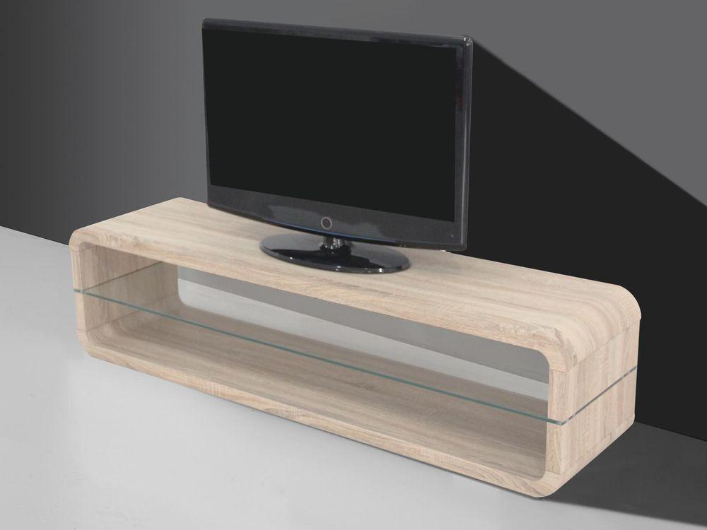 Meuble tv-hifi 140x40 cm coloris sonoma clair