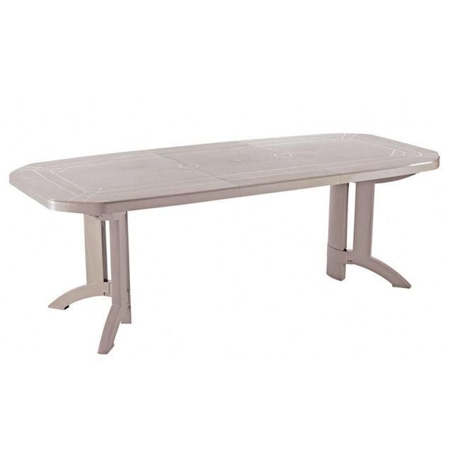 Alinéa - Vega Table de jardin Grosfillex extensible pliante beige en ...