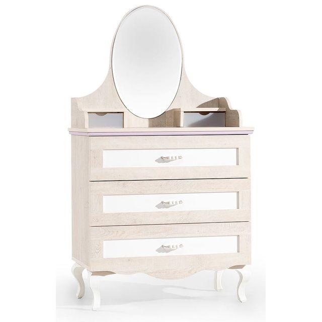 Comforium Commode + miroir design baroque coloris bois naturel et blanc