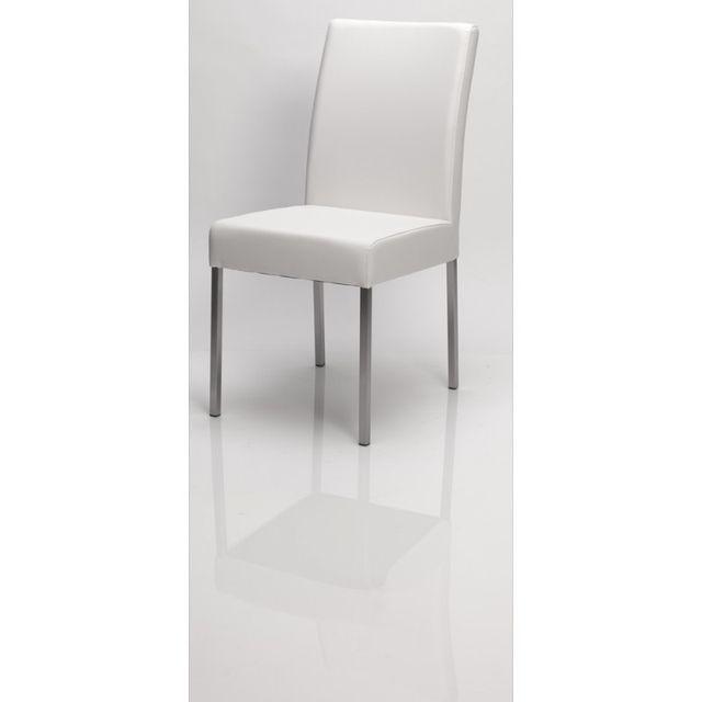 Ma Maison Mes Tendances Lot de 2 Chaises en simili cuir blanc et pieds acier Esther - L 58 x l 43 x H 90