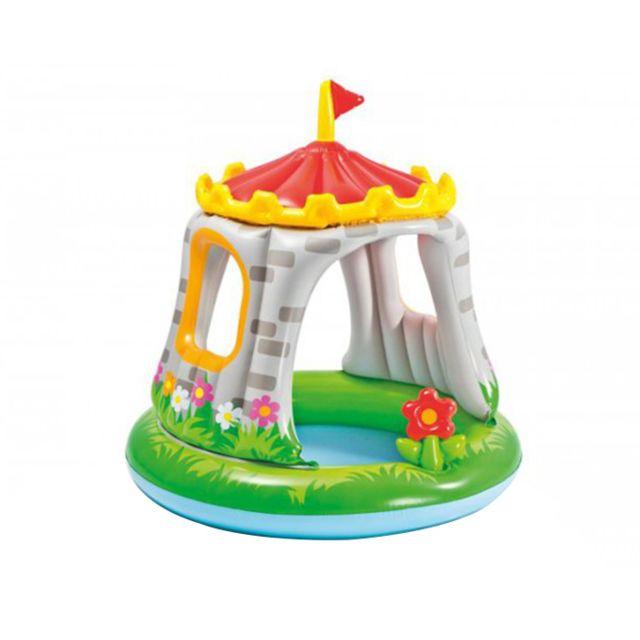 Intex piscine pour enfants ch teau avec pare soleil vert for Piscine enfant carrefour