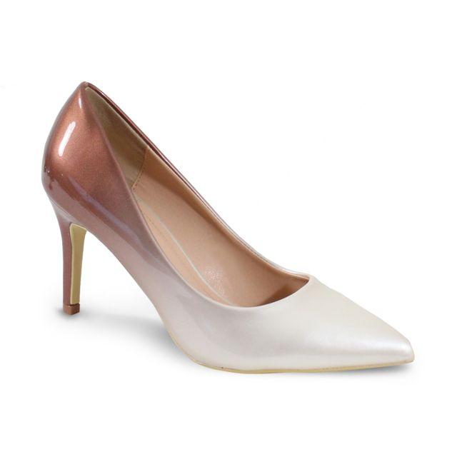 9d753a3b4d5b5b Alistair - By Shoes Escarpin Talon Haut Style Vernis - Femme -37 Beige