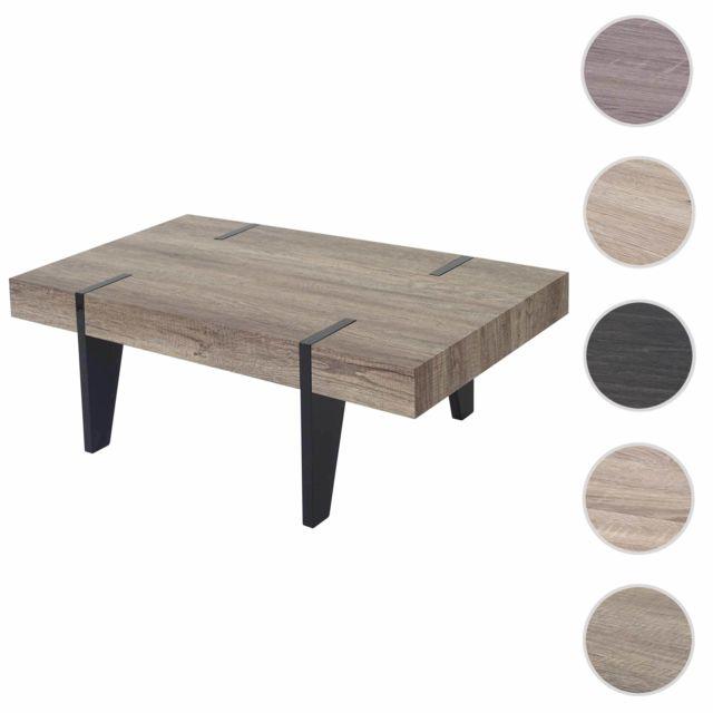 Mendler Table basse de salon Kos T575, Fsc 40x110x60cm ~ chêne sauvage, pieds foncés poli fin