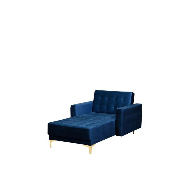 BELIANI Chaise longue en velours bleu marine ABERDEEN - bleu marine