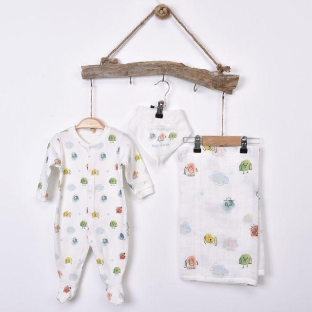 7574314efe2b Sevira Kids - Kit naissance bébé 3 Pièces - Dors-Bien avec Bandana et Lange