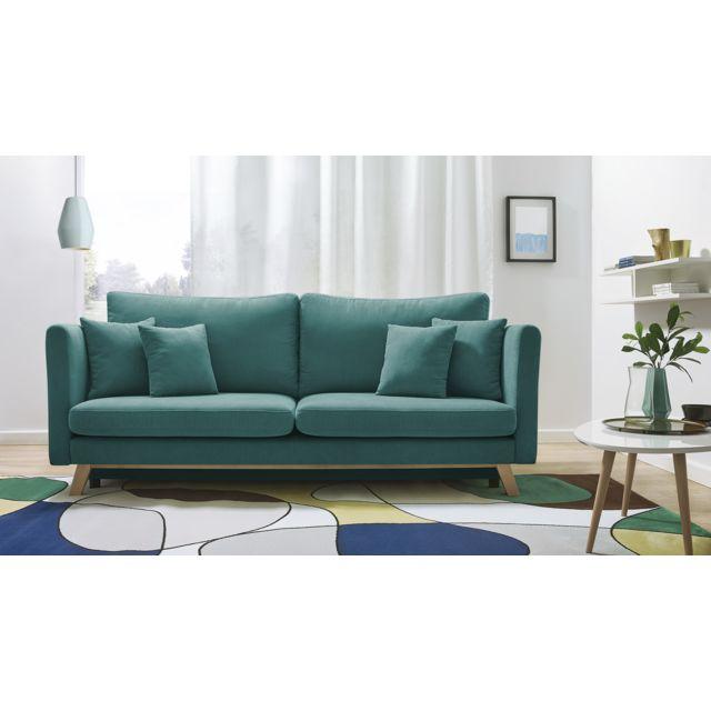 bobochic canap triplo 3 places convertible bleu canard 216cm x 105cm x 76cm achat. Black Bedroom Furniture Sets. Home Design Ideas