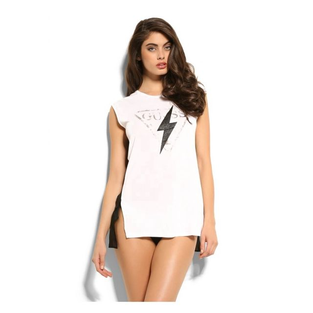 GUESS T-shirt Holliday Blanc - Taille - Xs