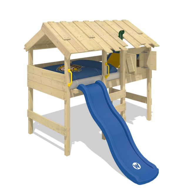 WICKEY Lit mezzanine en bois CrAzY Lagoon pour enfant