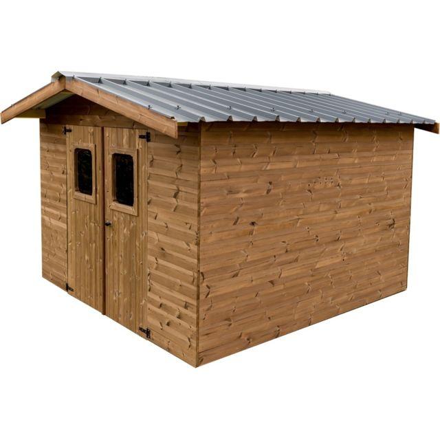HABRITA Abri THERMABRI madriers sans plancher, toit double pente bac acier 11,97 m²
