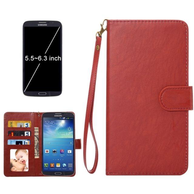 Wewoo - Housse Étui brun pour Samsung Galaxy C9 Pro / C900 & A8 2016 & S7 Edge & S6 Edge +, iPhone 7 Plus & 6s Plus & 6 De plus, Huawei Mate 9 et P9 Plus Mate 8 Mate 7, taille: 16,3 x 8,5 x 1,8 cm Etui à rabat horizontal en cuir A1 Da Vinci Texture avec fentes Cr