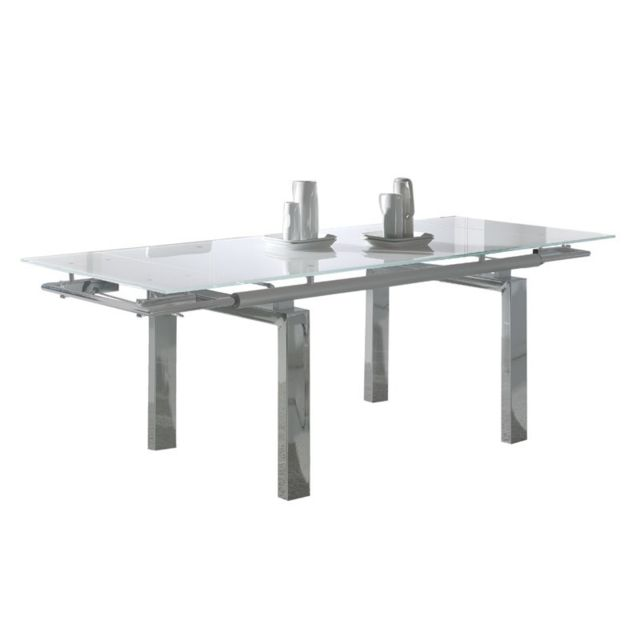 Tousmesmeubles Table de repas à allonges - Turino - L 160/220 x l 90 x H 76