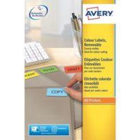 Avery - Etiquettes enlevables jet d'encre et laser 45,7 x 21,2 mm couleur rouge - Boîte de 960