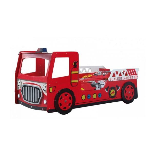 Vipack Funbeds Lit Pompier Mdf Rouge 223 x 101 x 101 cm