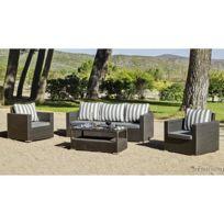 Hevea Jardin - Salon de jardin 5 places Manhatan 8 avec coussin Liso / Rayas Grises en dralon