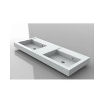 Riho - Grand lavabo blanc duo sans trou en céramique Bologna 140x48 cm