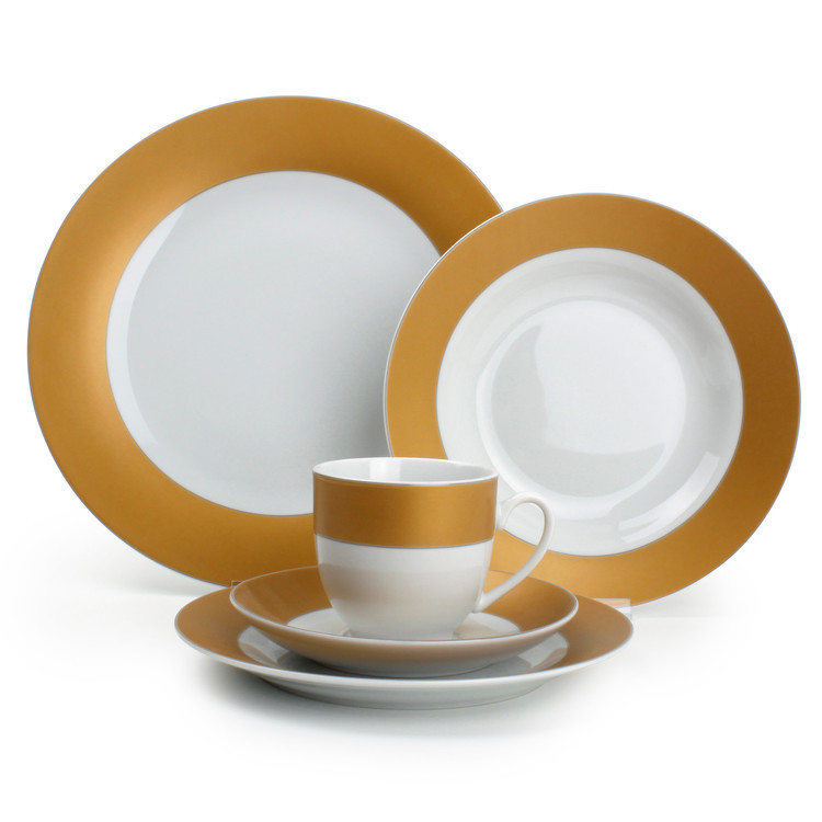 Service de table 30 pièces en porcelaine bords couleur Twirl - Bronze