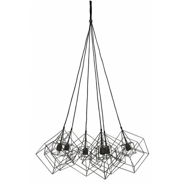 L'HÉRITIER Du Temps Luminaires Multiples à Suspendre Kubinka Eclairage Moderne Suspension Géométrique en Métal Patiné Noir 85x85x145cm