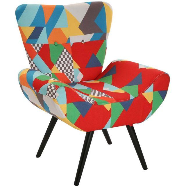 VERSA Fauteuil design en tissu mélanges de couleurs Brais