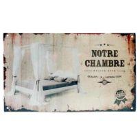 """Class DÉCO - Plaque de porte pour """"Notre Chambre"""" en métal écru - Lit à Baldaquin Adulte à Fixer Rétro Vintage"""