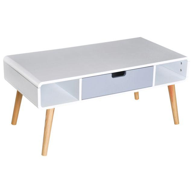 Homcom Table Basse Rectangulaire Design Scandinave 100l X 50l X